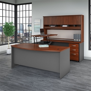 Bush Business Furniture Series C 72W x 36D 3 Position Sit to Stand Bow Front U Shaped Desk with Hutch and Mobile File Cabinet #SRC129HCSU