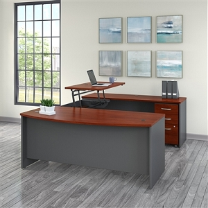 Bush Business Furniture Series C 72W x 36D 3 Position Sit to Stand Bow Front U Shaped Desk with Mobile File Cabinet #SRC130HCSU