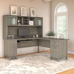 Bush Furniture Somerset 72W L Shaped Desk with Hutch