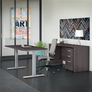 Bush Business Furniture Studio C 60W x 30D Height Adjustable Standing Desk, Credenza and Mobile File Cabinet #STC017SGSU