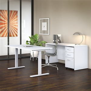 Bush Business Furniture Studio C 60W x 30D Height Adjustable Standing Desk, Credenza and Mobile File Cabinet #STC017WHSU