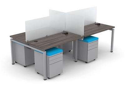 Clear Design Blade 4 Person Workstation - 24