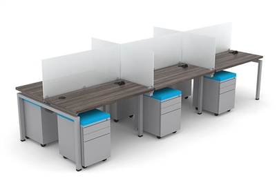 Clear Design Blade 6 Person Workstation - 24