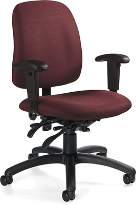 Global Goal Low Back Multi-Tilter Chair With Arms #2237-3