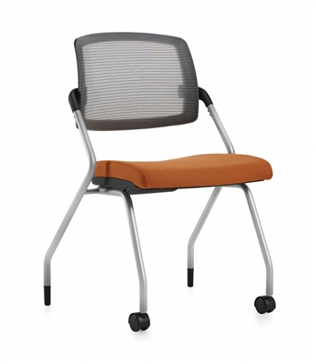 Global Spritz Armless Flip Seat Nesting Chair w/Front Casters #6764FC