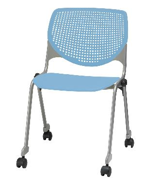 KFI Studios Kool Armless Poly Stack Chair with Casters and Perforated Back #CS2300
