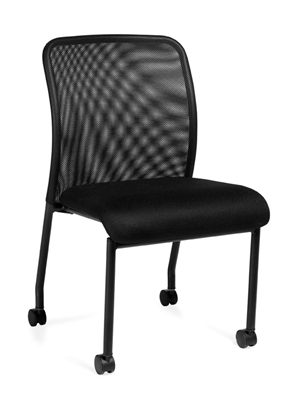 OTG Armless Mesh Back Guest Chair With Casters #OTG11761B