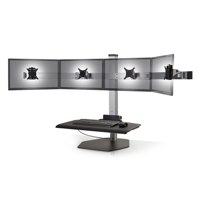 Innovative Winston Sit-Stand Workstation Quad Monitor Mount With Compact Worksurface #WNST-4-FS-M-SBLK