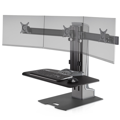 Innovative Winston-E Sit-Stand Workstation Triple Monitor Mount With Compact Work Surface #WNSTE-3-CW-270