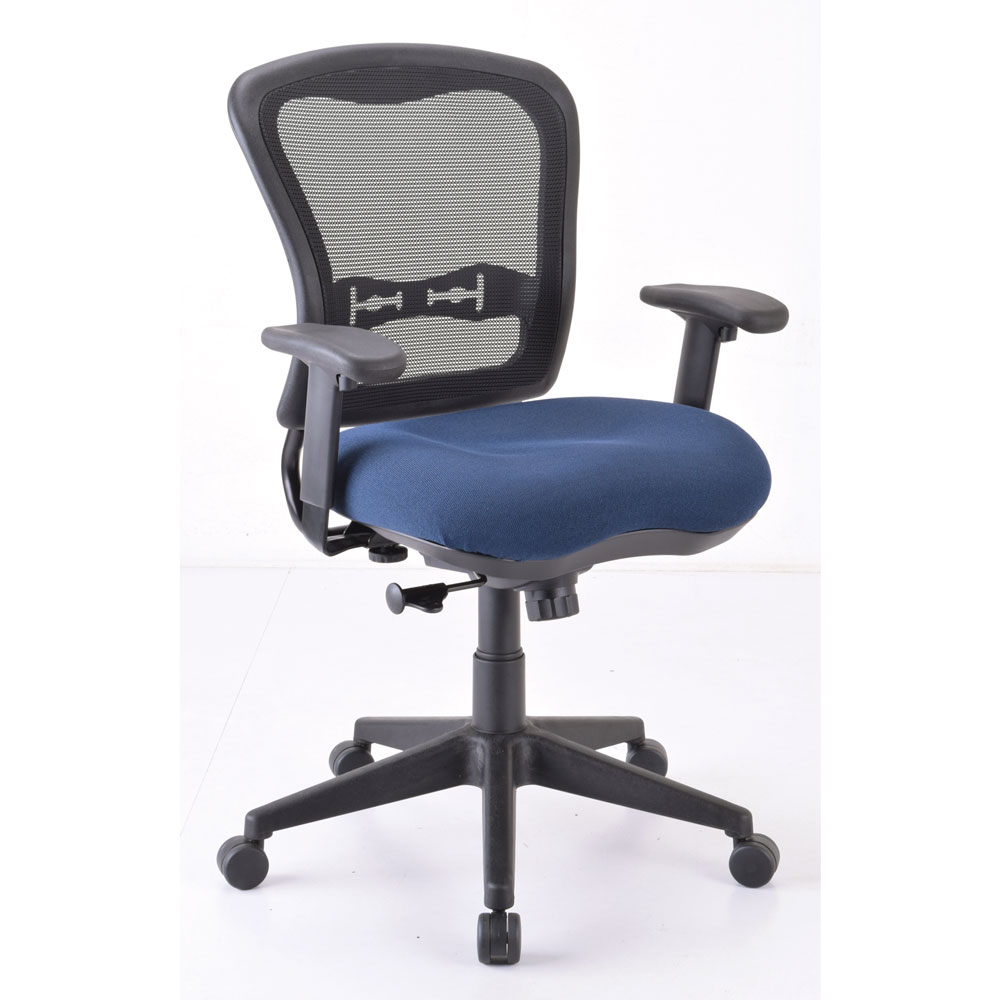 Office Source Spice Mid Back Mesh Chair w/ Upholstered Seat #7854ANS