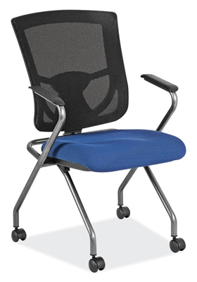 Office Source CoolMesh Pro Series Mesh Back Nesting Chair With Arms #8094TNS