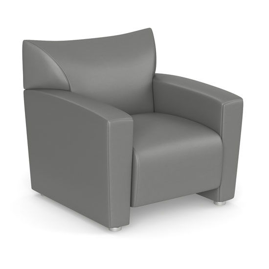 Office Source Tribeca Club Chair w/Silver Metal Legs #9681