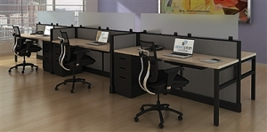 Open Plan 6 Pack 2' x 6' Monolithic Workstations - TYPICAL 17