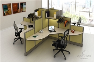 Open Plan 4 Pack Clover Shape Workstation TYPICAL 9