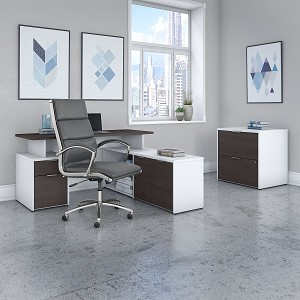 Bush Business Furniture Jamestown 60W L Shaped Desk with Lateral File Cabinet and High Back Office Chair