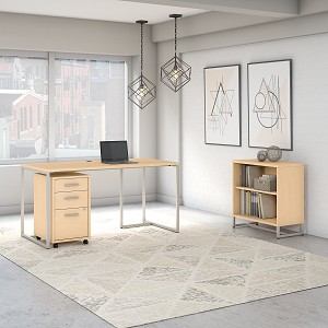 Office by kathy ireland® Method 60W Table Desk with Bookcase and Mobile File Cabinet