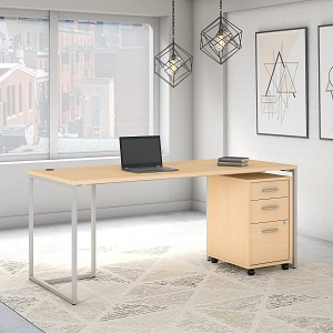 Office by kathy ireland® Method 72W Table Desk with 3 Drawer Mobile File Cabinet